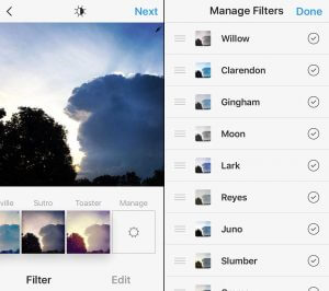 how to manage inatagram filters