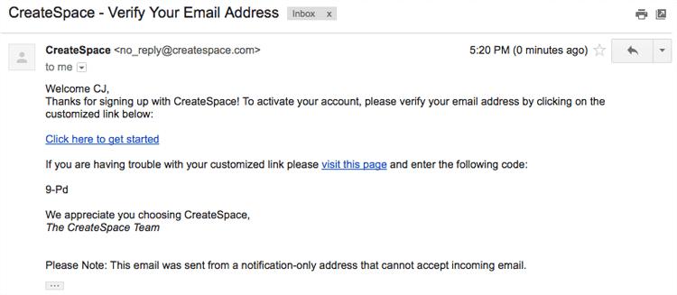 verify email createspace