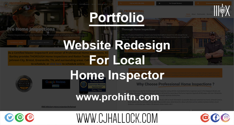website design portfolio for home inspector