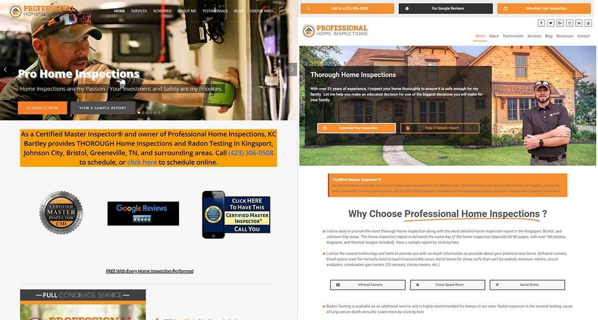 Professional Home Inspections Website Design Kingsport Tn C J Hallock